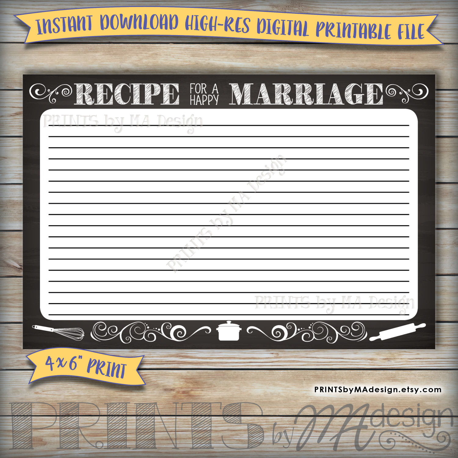 It's just a photo of Ridiculous Recipe for a Happy Marriage Printable