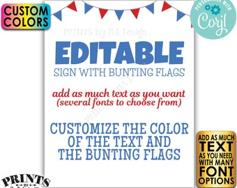 """Editable Bunting Flags Sign, Choose Your Text, Custom Colors, One PRINTABLE 8x10/16x20"""" Portrait Sign <Edit Yourself w/Corjl>"""