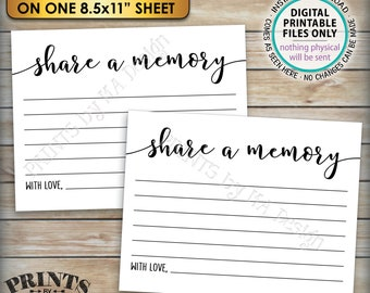 """Share a Memory Card, Please Leave a Memory, Memorial Card, Four 4.25x5.5"""" cards on an 8.5x11"""" Digital Printable File <ID>"""
