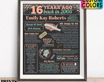 """16th Birthday Poster Board, Back in 2005 Flashback 16 Years Ago B-day Gift, Custom PRINTABLE 16x20"""" 2005 Sign, Sweet Sixteen Bday Decor"""