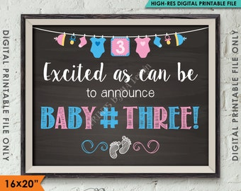 """Baby Number 3 Pregnancy Announcement, 3rd Baby #3 Expecting Third Child Prop, Chalkboard Style PRINTABLE 8x10/16x20"""" Instant Download"""