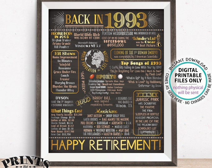"""Back in 1993 Retirement Party Poster Board, Flashback to 1993 Sign, PRINTABLE 16x20"""" Retirement Party Decoration <ID>"""