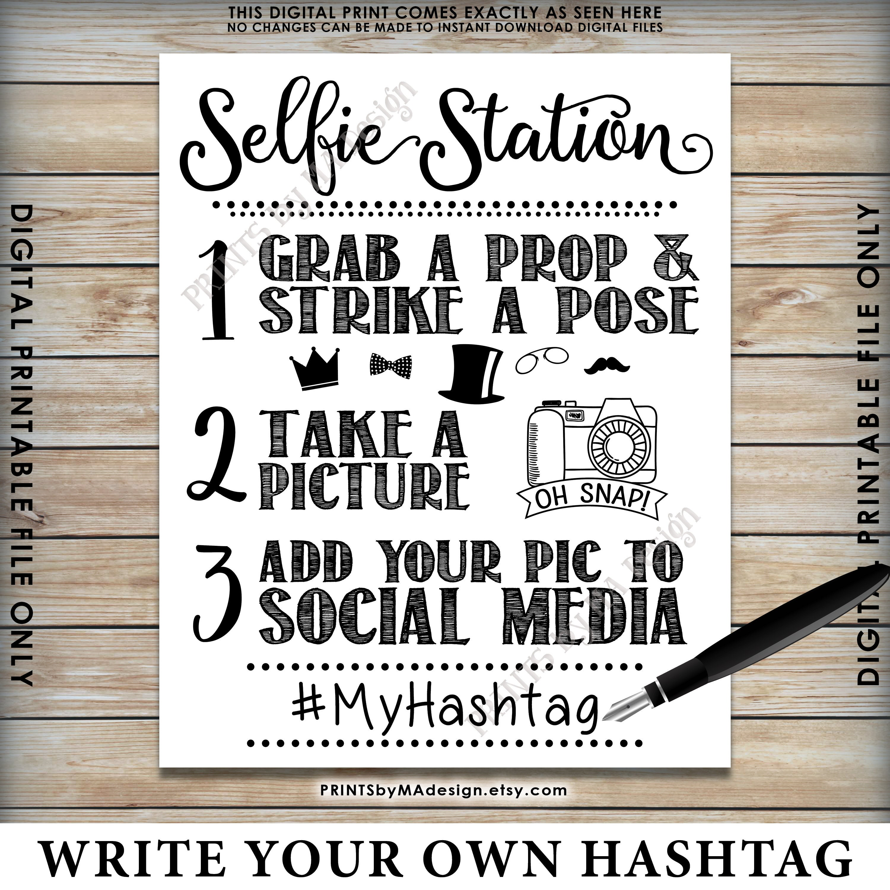 photograph about Selfie Station Sign Free Printable titled Selfie Station Indicator, Percentage your pic upon Social Media, Snap a