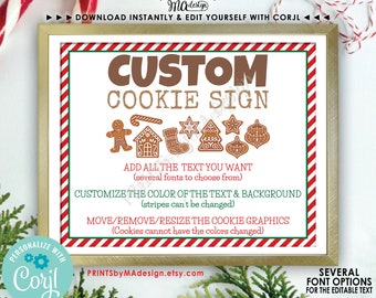 """Custom Christmas Cookie Sign, Choose Your Text & Colors, Gingerbread, One Custom PRINTABLE 8x10/16x20"""" Sign <Edit Yourself with Corjl>"""