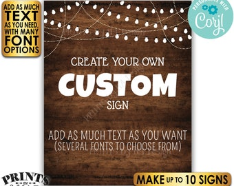 """Custom Dark Brown Rustic Wood Style Posters with Lights, Choose Your Text, Ten PRINTABLE 8x10/16x20"""" Portrait Signs <Edit Yourself w/Corjl>"""