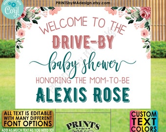 """Editable Drive-By Event Sign, Baby Shower Welcome Sign, Custom Rose Gold Blush Floral PRINTABLE 18x24"""" Template <Edit Yourself w/Corjl>"""