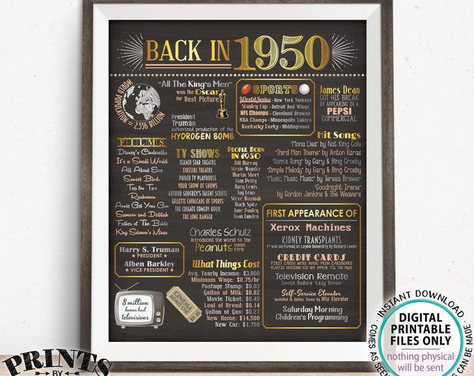 """Back in 1950 Poster Board, Flashback to 1950, Remember 1950, USA History from 1950, PRINTABLE 16x20"""" Sign <ID>"""