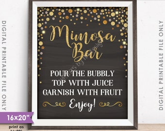 """Mimosa Bar Sign, Make your own Mimosa Sign, Wedding Bridal Shower Brunch, Chalkboard Style 8x10/16x20"""" Instant Download Digital Printable"""