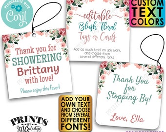 """Editable Blush Floral Tags/Cards, Party Favors, Custom Watercolor Style 2"""" Squares, PRINTABLE 8.5x11"""" Digital File <Edit Yourself w/Corjl>"""