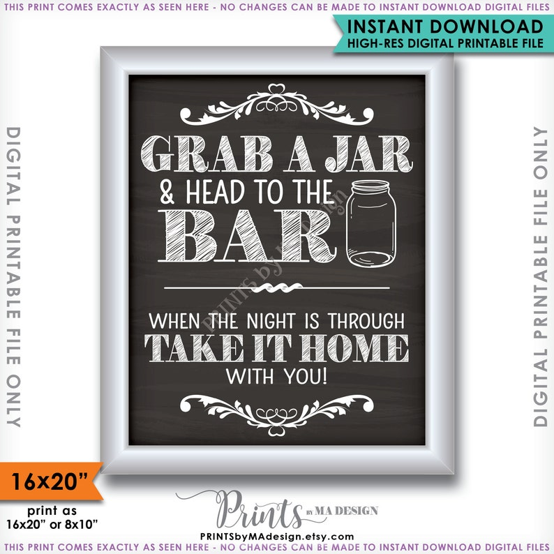 picture regarding Head in a Jar Printable identify Seize a Jar and Mind in the direction of the Bar, Choose Your Jar in the direction of the Bar, Mason Jar Wedding day Indicator, 8x10/16x20\u201d Chalkboard Design Printable Immediate Down load