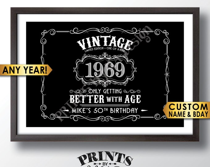 """Vintage Birthday Sign, Better with Age Liquor Themed Birthday Party Decor, Custom Black & White PRINTABLE 24x36"""" File"""