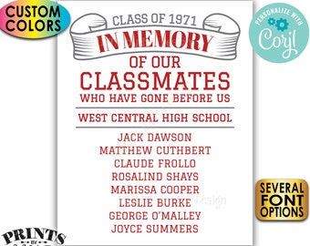 """Reunion Memorial, In Memory of the Classmates Who Have Gone Before Us, Custom PRINTABLE 8x10/16x20"""" Sign <Edit Yourself with Corjl>"""