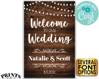 """Welcome to Our Wedding Sign, Wedding Welcome, PRINTABLE 24x36"""" Rustic Wood Style Wedding Entrance Sign <Edit Yourself with Corjl>"""