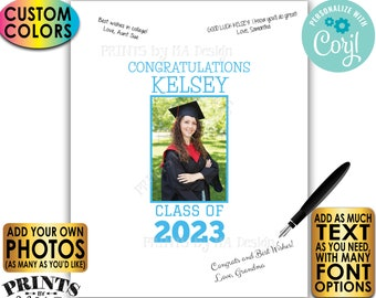 """Graduation Party Signature Board, Guestbook Alternative, Add Unlimited Photos & Text, Custom PRINTABLE 16x20"""" Sign <Edit Yourself w/Corjl>"""