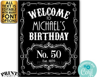 """Birthday Welcome Sign, Vintage Whiskey Themed Birthday Poster, Better with Age, PRINTABLE 16x20"""" Black & White Sign <Edit Yourself w/Corjl>"""