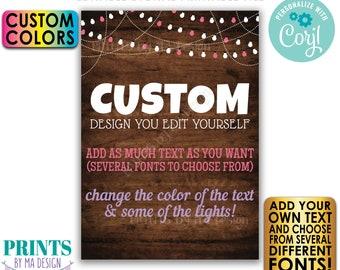 "Editable 5x7"" Rustic Wood Style Portrait Design, Choose Your Text, Lights, Custom Digital PRINTABLE File <Edit Yourself w/Corjl>"