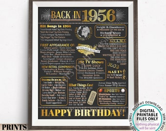 "Back in 1956 Birthday Poster Board, Flashback to 1956 Birthday Decoration, '56 B-day Gift, PRINTABLE 16x20"" Sign, Birthday Decor <ID>"