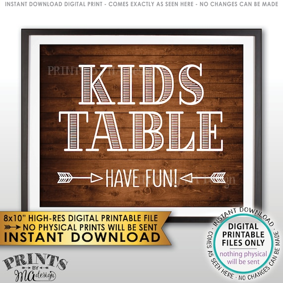Kids Table Sign Have Fun Wedding Reception Activities For Etsy