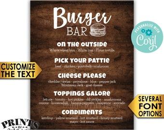 """Burger Bar Sign, Custom Burger Menu, Build Yourself a Burger, PRINTABLE 8x10/16x20"""" Rustic Wood Style Sign <Edit Yourself with Corjl>"""