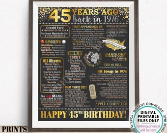 """45th Birthday Poster Board, Back in the Year 1976 Flashback 45 Years Ago B-day Gift, PRINTABLE 16x20"""" Born in 1976 Sign <ID>"""