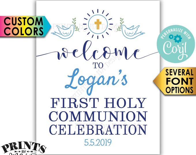 """First Holy Communion Celebration Welcome Sign, First Communion, First Eucharist, PRINTABLE 8x10/16x20"""" Sign <Edit Yourself with Corjl>"""