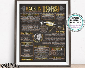 """Back in 1969 Poster Board, Remember 1969 Flashback USA History, Birthday Anniversary Reunion, PRINTABLE 16x20"""" Sign <ID>"""