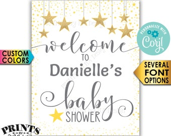 """Stars Baby Shower Welcome Sign, Twinkle Twinkle Little Star Baby Shower Decor, PRINTABLE 8x10/16x20"""" Sign <Edit Yourself with Corjl>"""