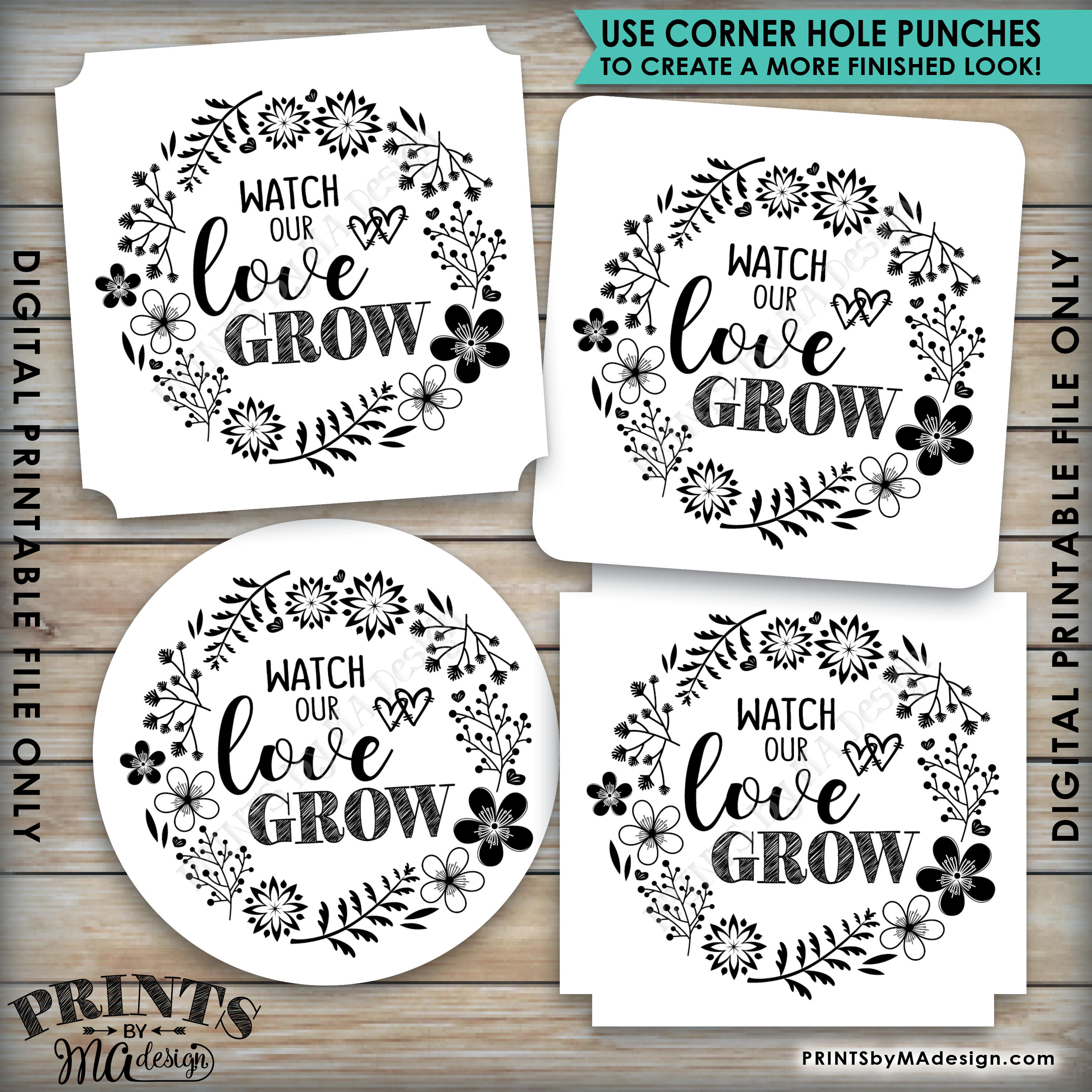 Watch Our Love Grow Tags, Wedding Tags, Succulents, Plant Seeds ...