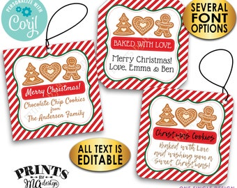 """Christmas Cookie Bakery Tags, Custom 2"""" Square Cards on a Digital PRINTABLE 8.5x11"""" File, From the Kitchen Of <Edit Yourself with Corjl>"""