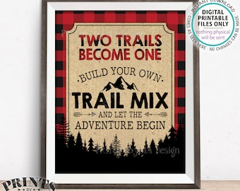 """Trail Mix Bar Sign, Two Trails Become One Wedding Treats, Lumberjack Style Trail Mix Sign, Red Checker Buffalo Plaid PRINTABLE 8x10"""" Sign"""