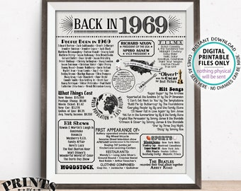 """Back in 1969 Poster Board, Remember 1969 Flashback USA History, Birthday Anniversary Reunion, PRINTABLE Textured Paper Style 16x20"""" <ID>"""