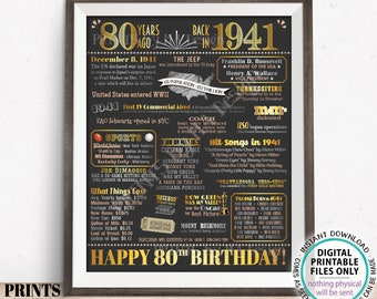 """80th Birthday Poster Board, Born in the Year 1941 Flashback 80 Years Ago B-day Gift, PRINTABLE 16x20"""" Back in 1941 Sign <ID>"""