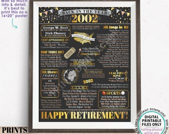 """Back in the Year 2002 Retirement Party Poster Board, Flashback to 2002 Sign, PRINTABLE 16x20"""" Retirement Party Decoration <ID>"""