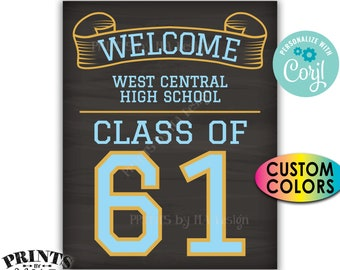 """Class Reunion Welcome Sign, Class of Reunion Decor, Custom PRINTABLE 8x10/16x20"""" Chalkboard Style Sign <Edit Yourself with Corjl>"""