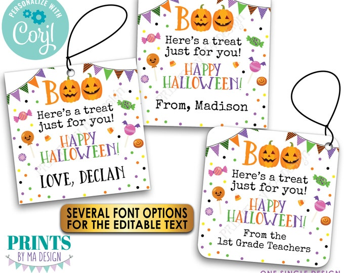 """Editable Halloween Treat Tags, Custom Goodie Bag Party Favors, Take a Candy, PRINTABLE 8.5x11"""" Sheet of 2x2"""" Cards <Edit Yourself w/Corjl>"""