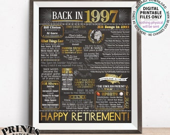 "Retirement Party Decorations, Back in 1997 Poster, Flashback to 1997 Retirement Party Decor, Chalkboard Style PRINTABLE 16x20"" Sign <ID>"