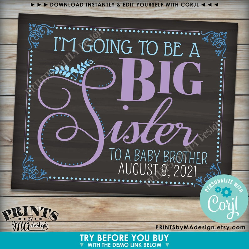 PRINTABLE Chalkboard Style Baby #2 Sign I/'m going to be a Big Sister Pregnancy Announcement Sign Baby Number 2
