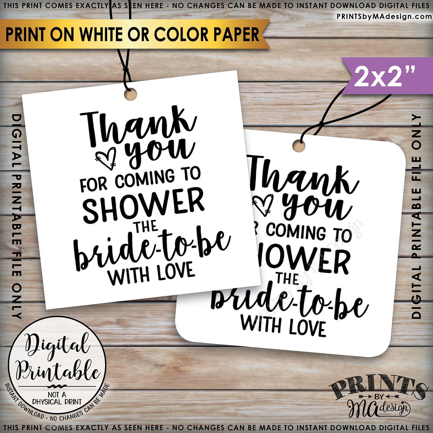 bridal shower thank you tags thank you for coming to shower the bride to be bridal shower tags 2x2 on 85x11 printable instant download