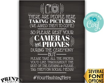 """Unplugged Wedding Ceremony, We Hired Photographers & Asked Them to Come, PRINTABLE Chalkboard Style 16x20"""" Sign <Edit Yourself with Corjl>"""
