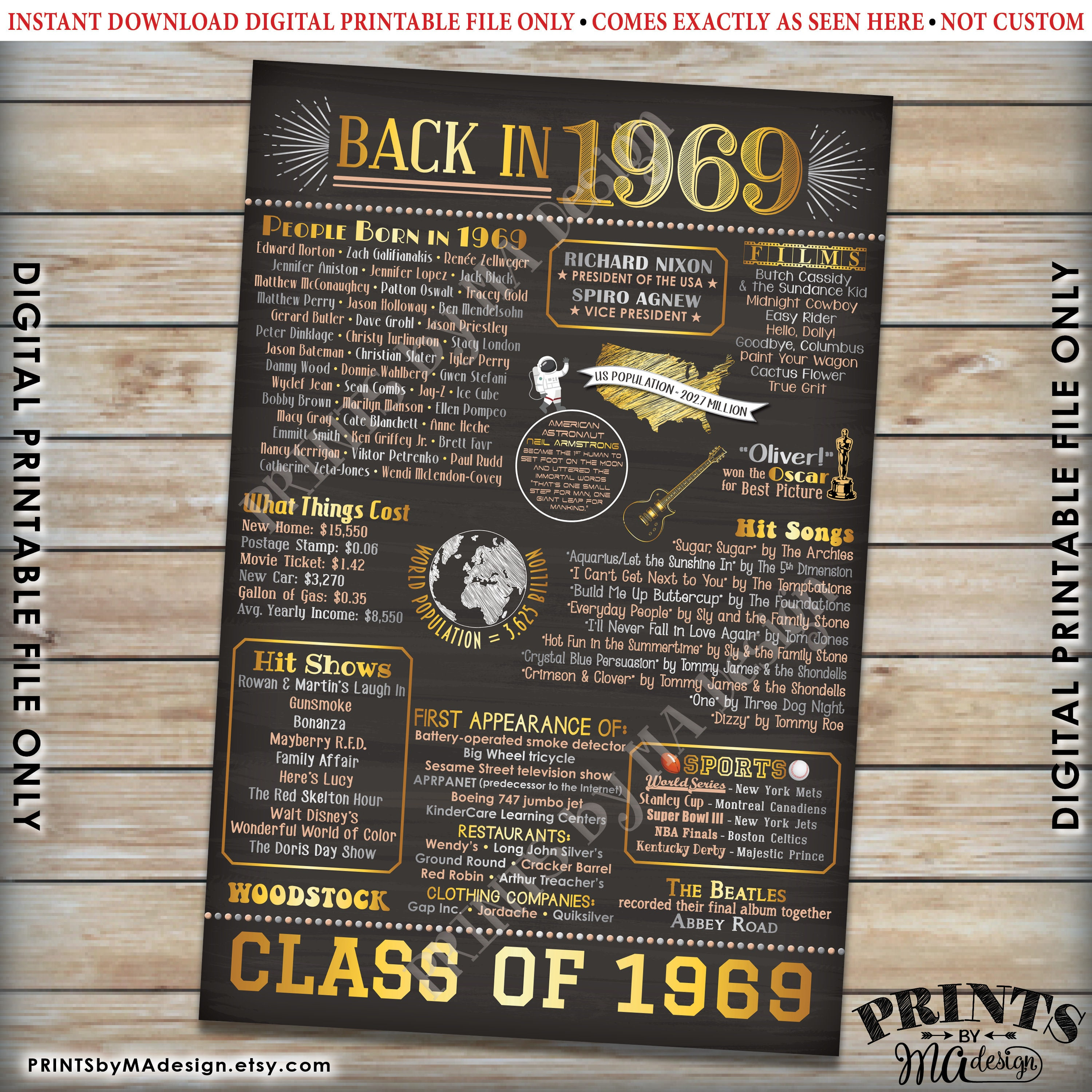 image relating to Printable Poster Board referred to as Back again inside 1969 Poster Board, Cl of 1969 Reunion Decoration
