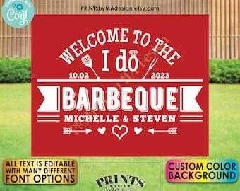 "Editable Wedding BBQ Sign, Backyard Barbecue Welcome, PRINTABLE 8x10/16x20"" Sign, Custom Color Background <Edit Yourself w/Corjl>"