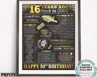 """16th Birthday Poster Board, Born in the Year 2005 Flashback 16 Years Ago B-day Gift, PRINTABLE 16x20"""" Back in 2005 Sign, Gold <ID>"""