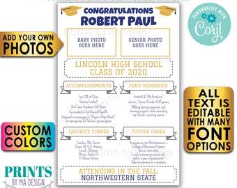 "Graduation Party Sign, High School Graduation Party Decoration, Senior Photo, Milestones, PRINTABLE 24x36"" Sign <Edit Yourself w/Corjl>"