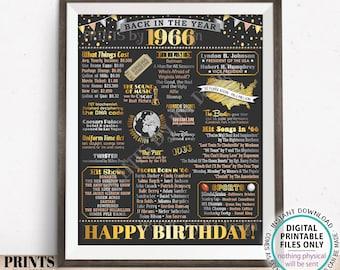 "Back in 1966 Birthday Poster Board, Flashback to 1966 Birthday Decoration, '66 B-day Gift, PRINTABLE 16x20"" Sign, Birthday Decor <ID>"