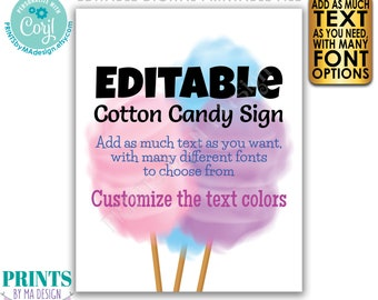 Custom Cotton Candy Sign, Choose Your Text, Festival Concession Circus Carnival Party, PRINTABLE Portrait Sign <Edit Yourself w/Corjl>