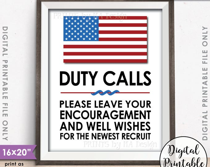 """Military Party Decor, Leave your Encouragement and Well Wishes, US Military Boot Camp, Patriotic, 8x10/16x20"""" Printable Instant Download"""