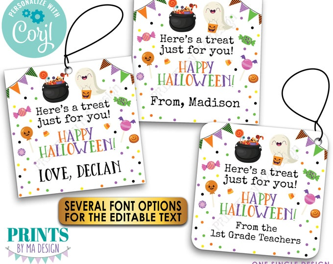 """Editable Halloween Treat Tags, Take a Candy, Custom Goodie Bag Party Favors, PRINTABLE 8.5x11"""" Sheet of 2x2"""" Cards <Edit Yourself w/Corjl>"""