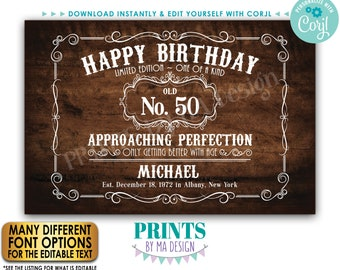 """Editable Vintage Birthday Sign, Better with Age Liquor Themed Party, Custom PRINTABLE 24x36"""" Rustic Wood Style Sign <Edit Yourself w/Corjl>"""