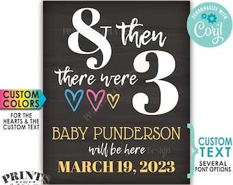 """And Then There Were Three Pregnancy Announcement, Gender Reveal, PRINTABLE 8x10/16x20"""" Chalkboard Style Sign <Edit Yourself with Corjl>"""