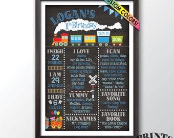 "Train Birthday Poster, 1st Birthday Board Train Theme Birthday Stats Milestones, Chalkboard Style PRINTABLE 24x36"" Custom First B-day Board"